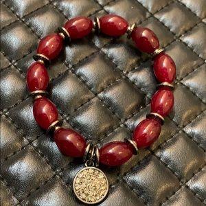 Anthropologie Red Glads Beaded Stretch Bracelet
